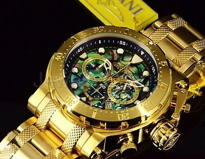 26504 Invicta 52MM Coalition Forces Chronograph Abalone Dial Gold Tone Band Watc