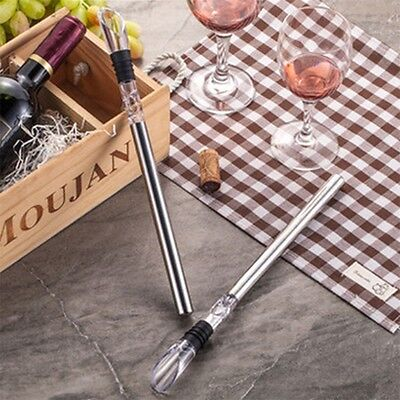 Stainless Steel Wine Chiller Stick Pourer Spout Cooler Cooling Ice Bottle Rod GU
