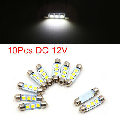 10pcs 39mm White 3 5050 SMD LED Festoon Dome Map Lights Interior for Car