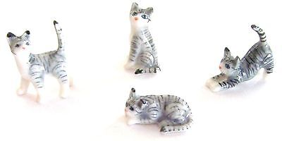 Miniature Porcelain Cat Figurine Hand Painted Set/4 TINY Grey Tabby Cat Kittens