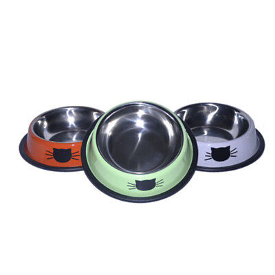 Anti-Skid Stainless Steel Cat Dog Food Water Bowl Pet Feeding Tool Kitty Feeder