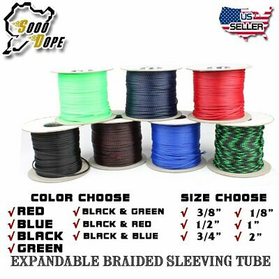 Expandable Braided Sleeving Tubing Wire Cable LOT ALL SIZES&COLOR 10FT - 100FT