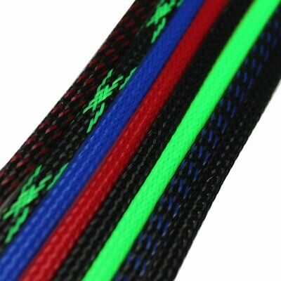 PET Braided Tubing Sleeving Wire Cable Wrap Weave Sleeve Expandable Lot 10-100FT