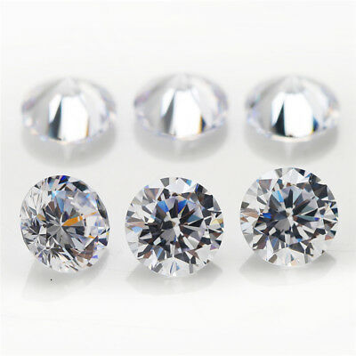 500pcs 0.7~15.0mm Round White AAAAA loose cz stone cubic zirconia Best quality