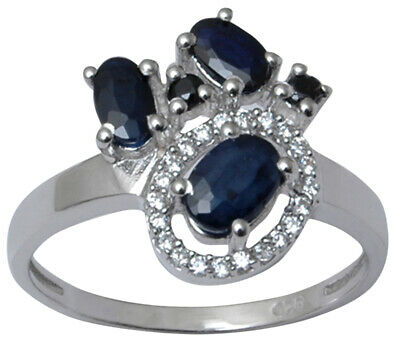 925 Sterling Silver Sapphire Stone Designer Ring Indian Women Fashion Jewelry