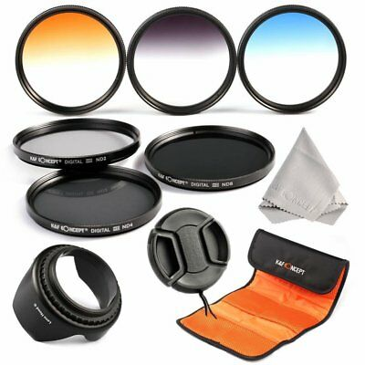 K&F Concept 58mm ND2 ND4 ND8 3Pcs Graduated Color Lens Filter Kit for Canon Sony