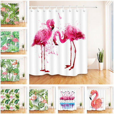 Palm Tree Banana Leaves Monstera Flamingo Shower Curtain Hooks Bathroom Decor