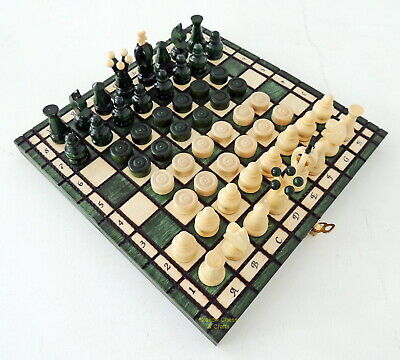 Brand New Handcrafted Green Kingdom Travel Wooden Chess And Checkers Set 11 Inch