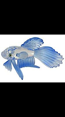 Swarovski Crystal Siamese Fighting Fish Blue, Retired, Mint Condition