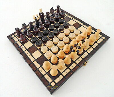 Brand New Handcrafted Kingdom Travel Wooden Chess And Checkers Set 11 Inch Brown