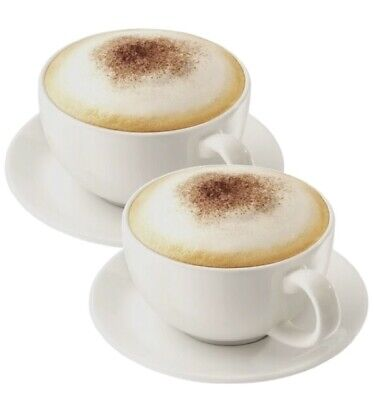 Set Of 2 Large Pure White Porcelain Cappuccino Cups And Saucers 475ml 16oz