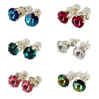 925 Sterling Silver Ear Studs Made From Swarovski Crystal In various Colours