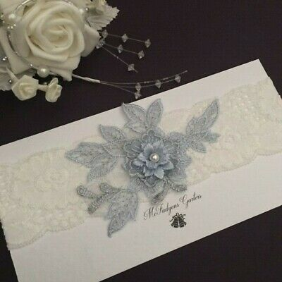Wedding Garter, Blue Flowers & Ivory Lace, Sizes XS,S,M,L,XL,XXL/Plus size,large