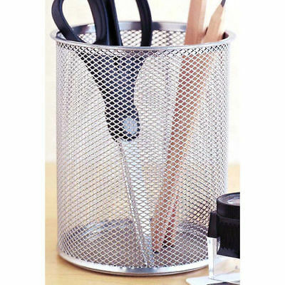 Giant Silver Mesh Steel Pencil Cup