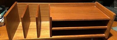 Mid Century Danish Modern Teak Desk Top Organizer Shelf by Pedersen & Hansen