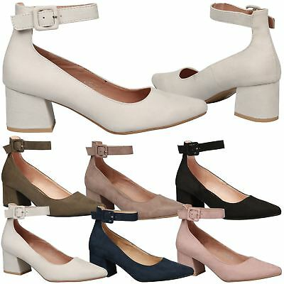 826fc280b7a Annalise Womens Low Mid Block Heel Ankle Strap Court Shoes Ladies Pumps  Size New