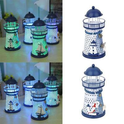 2x Nautical Lighthouse Lamp Table LED Light Home Decor Mediterranean Style