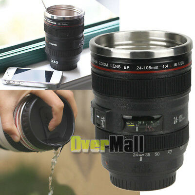 Lens Cup 24-105 Coffee Tea Travel Mug Stainless Steel Thermos Camera Lens Lid US