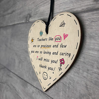Teacher Leaving Gift Wood Hanging Heart Plaque Term End Present Thank You Sign