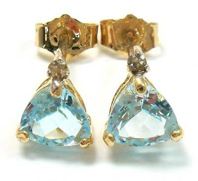 Syjewellery 9Ct Yellow Gold Natural Blue Topaz & Diamond Stud Earrings   E938