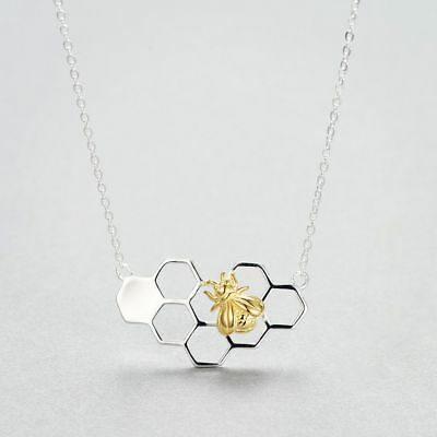 Cute Gold Color Jewelry Silver Pendant Necklace Honeybee Honeycomb With Bee