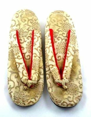 Antique Japanese Thong Shoes Gold Damask Mens Womens Provenance