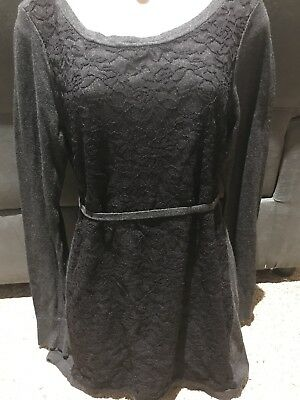 Oh Baby Gray & Black LS Maternity Loose.belted Sweater Sz M NWOT
