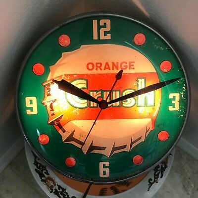 Vintage 1962 Orange Crush Soda  Glass Pam Clock . original condition aprox 15""