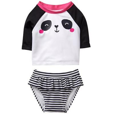 NWT Gymboree Baby Buddies Panda Girls Rashguard Tankini Swimsuit Set 12-18 18-24