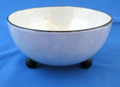 "Antique Vtg Iridescent Small Porcelain Bowl~Art Deco?~White~3 Footed~2"" Tall"