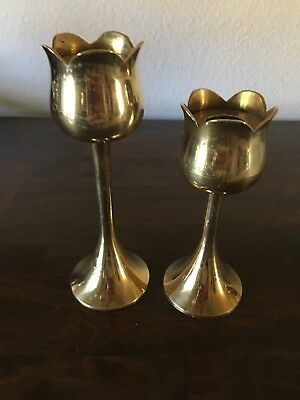 "Set of 2 Brass Tulip Candlestick Holders 5.5"" and 6.5"""