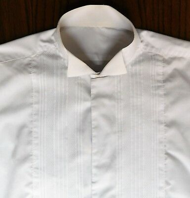 Mens dress shirt Pleated front wing collar size 15.5 vintage 1980s Alexandra