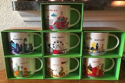 Lot of (7) different Starbucks YOU ARE HERE ~YAH~ mugs! Each mug is NIB
