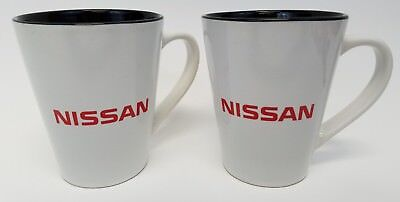 Nissan Two 2 Cups Mugs Coffee Tea, White, Red Lettering, Black Interior