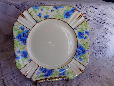 Royal Albert Dark Blue Pansy Chintz Art Deco Panelled Square Side Plate