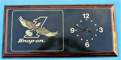 Snap-On Tools EAGLE #1 Wall CLOCK-WOODEN-Vintage Snap-On Bald Eagle Clock-L@@K!