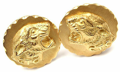 Rare! Authentic Vintage Van Cleef & Arpels VCA 18k Yellow Gold Panther Cufflinks