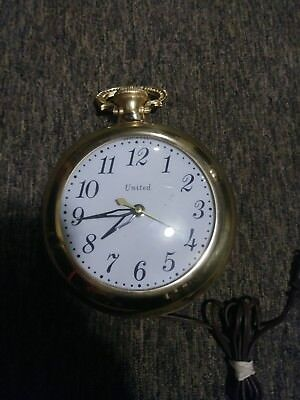 United Clock Wall Pocket Watch Vintage Large and Works USA brass gold tone'