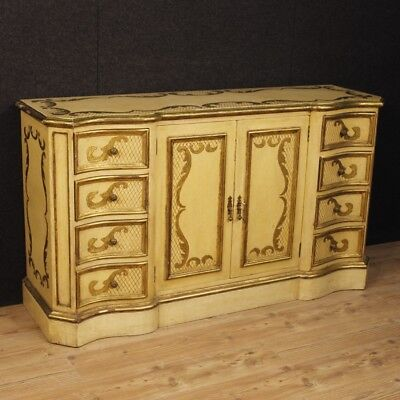 Cupboard lacquered furniture chest of drawers dresser italian wooden golden