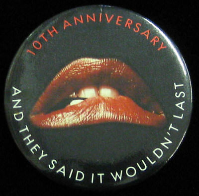Rocky Horror Picture Show _RARE ORIG VTG 10th Anniversary Movie Promo Pin Button