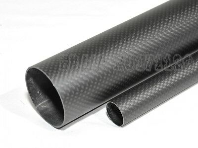 1x 28mm x 30mm x 500mm 3K Roll Wrapped Carbon Fiber Tube / Tubing/pipe Glossy US