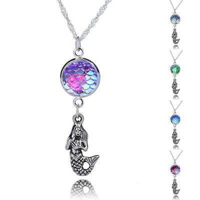 Charm Fashion Womens Girl Silver Mermaid Fish Scale Sequins Pendant Necklace