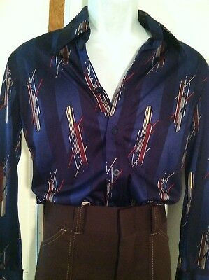 Vintage Mens Disco Print Shirt Nylon Graphic 70's Design  Med.