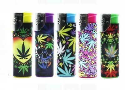 Refillable Windproof Lighter Slim Gas Cigarette Hippie Leaf Print Bulk 5 Pack