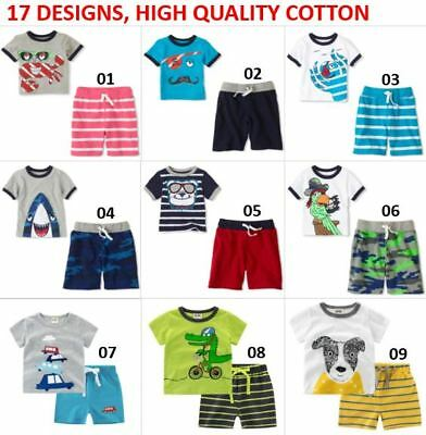 KIDS BOYS TODDLER SUMMER OUTFIT SET T-SHIRT SHORT SLEEVE TOPS SHORTS PANTS 2-8yr
