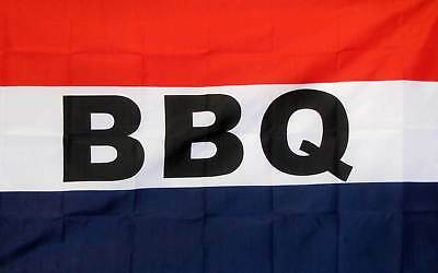 Bbq Red White Blue 3'x 5' Poly Flag-Free Shipping
