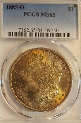 1885-O Morgan Silver Dollar - Graded MS65 by PCGS - With Beautiful toning!