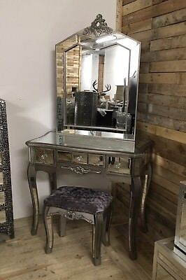 ARGENTE FRENCH MIRRORED Glass Dressing Table Set With Silver Trim ...