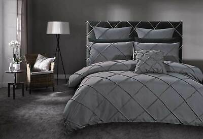 Queen / super KING Diamond tuck Grey Quilt Cover Set / duvet cover /accessory