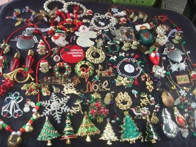 Lot Of Vintage/now Costume Jewelry Christmas Pieces Lots Of Gorgeous Brooches Sn